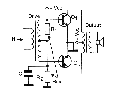Figure 5 - Push-pull output stage with two transistors.