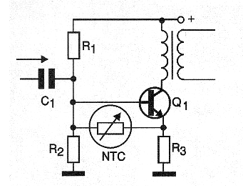 Figure 6- Using an NTC to thermally stabilize a transistor output stage.