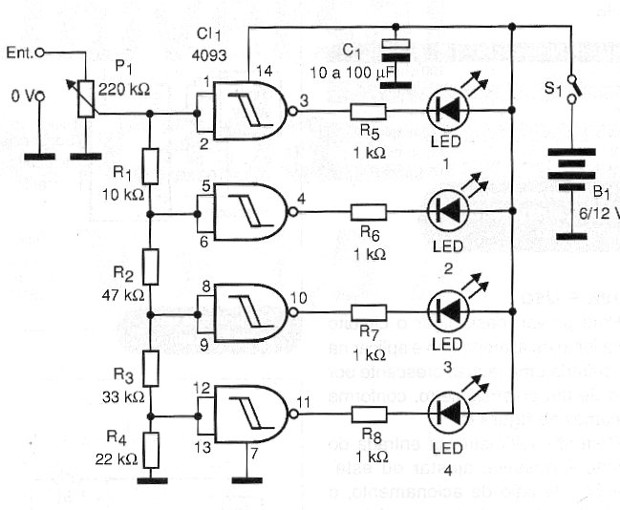 Figure 2 - Bargraph complete diagram with 4 LEDs. More LEDs can be connected, adding integrated.