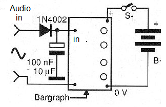 Figure 7 - Using the circuit as a sound level indicator (Vu-meter)