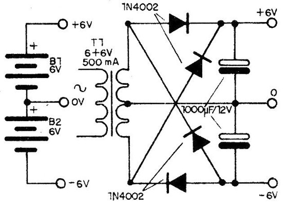 Figure 1 - Symmetric or dual power sources for the circuit