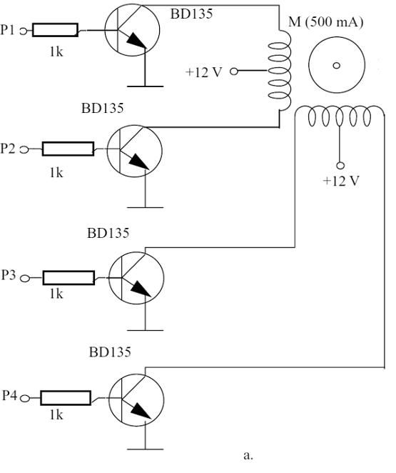 Using bipolar transistors - current up to 500 mA for each winding