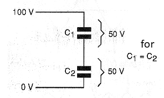 Figure 7 - Division of voltage between two <b>Capacitors</b> of the same value.