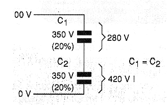 Figure 8 - Division of voltage between <b>Capacitors</b> of different values.