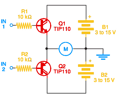Figure 1    Half bridge using Darlington transistors.