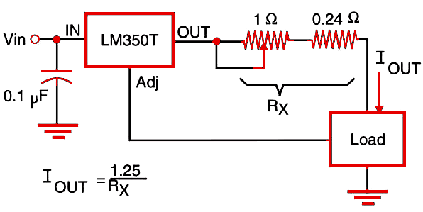 Figure 1  Constant current source using the LM350T (3 A).