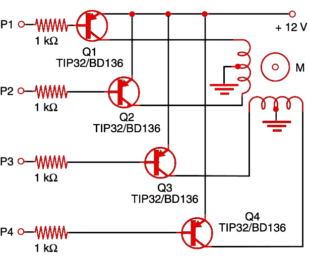 Figure 1    Stepper motor shield using PNP transistors.