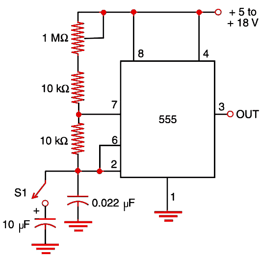 Figure 1 Step generator using the 555 IC.