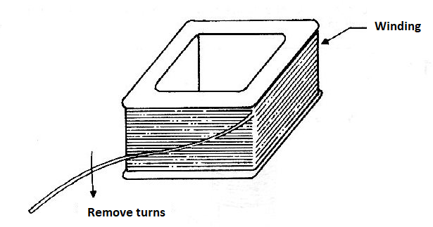 Figure 6 - Accessing the winding of a transformer.