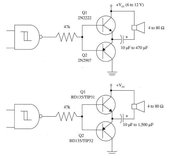 Figure 11 – power output stages with complementary transistors