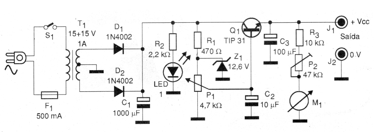 Figure 1 - Complete diagram of the 0 to 12 V supply