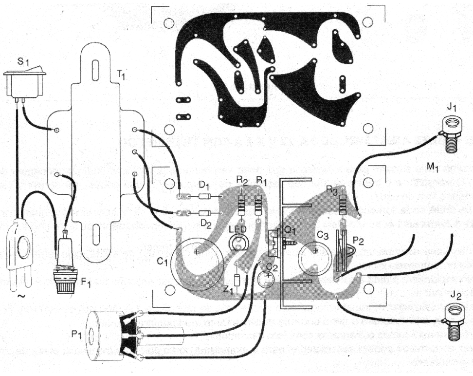 Figure 2 - Printed circuit board for mounting the power supply