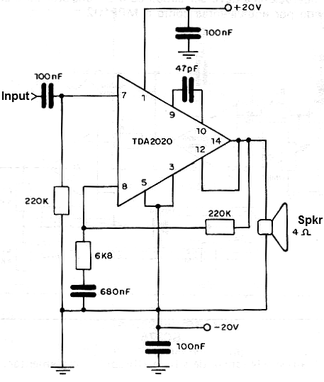 20 W Amplifier Using the TDA2020