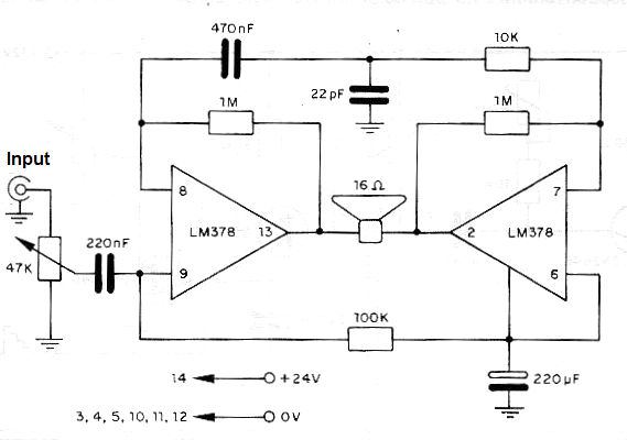 6 w audio amplifier using the lm378  cb442