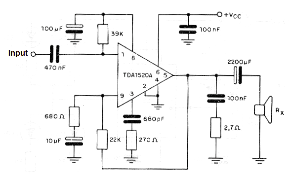 16 w audio amplifier using the tda1520  cb444