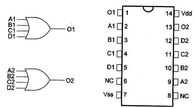 4072 dual 4 input or gate  cm047e